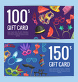 discount or gift card voucher with masks vector image