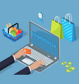 electronic commerce buy and sell cartoon banner vector image