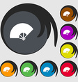 Fan icon sign Symbols on eight colored buttons vector image vector image