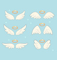 flying angel wings with gold nimbus angelic wing vector image vector image