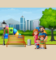 funny cartoon family in the city park vector image vector image