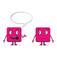 Funny cube dudes talking Square characters vector image vector image