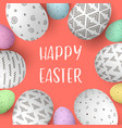 Happy easter eggs in frame with text colorful