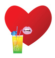 heart with drink in red vector image vector image