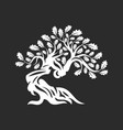 huge and sacred oak tree silhouette logo badge vector image vector image