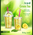 ice tea realistic advertisement vector image vector image