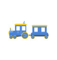 kids cartoon blue toy train railroad toy with vector image