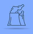 linear icon of two smoking factory pipes vector image