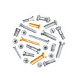 metallic bolts and screws isolated set vector image vector image