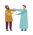muslim men in traditional clothing greeting each vector image