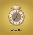 Old alarm clock isolated on gold background vector image vector image