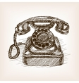 Old phone hand drawn sketch style vector image vector image