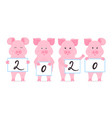 pigs are holding signs with numbers 2020 chinese vector image vector image