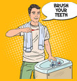 pop art smiling man brushing teeth in bathroom vector image vector image