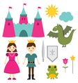 Princess and prince set vector image vector image