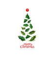 realistic christmas tree from holly xmas vector image