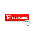 red button subscribe channel with hand cursor vector image vector image