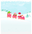 Santa Claus with little happy girl Christmas Train vector image