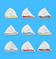 sea sailboats side view isolated labels vector image