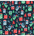 seamless pattern with snowflakes and angels vector image vector image