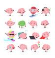 set brain emoji emotion vector image vector image