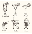 Set cocktail Margarita Whiskey drawn sketch vector image vector image