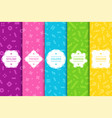 set of bright seamless memphis patterns colorful vector image