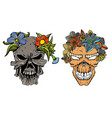 set of human terrible skulls vector image
