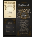 Set of vintage styled restaurant menu vector image