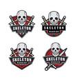 skeleton warrior emblem logo vector image vector image