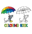 Small funny mouse with umbrella Coloring book vector image