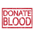 stamp text donate blood vector image vector image