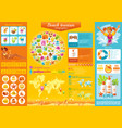 Summer beach travel icon set infographics diagram vector image