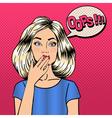 Surprised Woman Comic Style Pop Art Bubble Oops vector image vector image