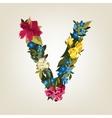 V letter Flower capital alphabet Colorful font vector image vector image
