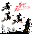 witch sillouette and black cat vector image vector image