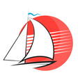 yacht and sun silhouette vector image vector image