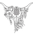 Decorative Indian bull skull with ethnic vector image