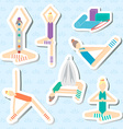 Set of stickers for yoga fitness aeroyoga Seamless vector image