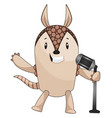 armadillo with microphone on white background vector image vector image