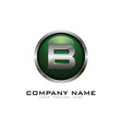 b 3d circle chrome letter logo icon design vector image vector image