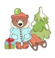 bear sleigh merry christmas cartoon vector image