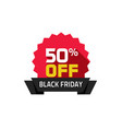 black friday sale label 50 percentage off special vector image vector image