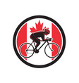 canadian cyclist cycling canada flag icon vector image vector image
