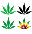 cannabis leaf flat design set vector image vector image