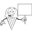 Cartoon Ice Cream Cone Holding a Sign vector image vector image