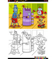 cartoon robot characters coloring book page vector image vector image