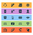 connection icons set with satellite connection vector image