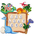 count number one to ten dinosaur theme vector image vector image