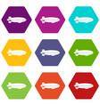 dirigible balloon icon set color hexahedron vector image vector image